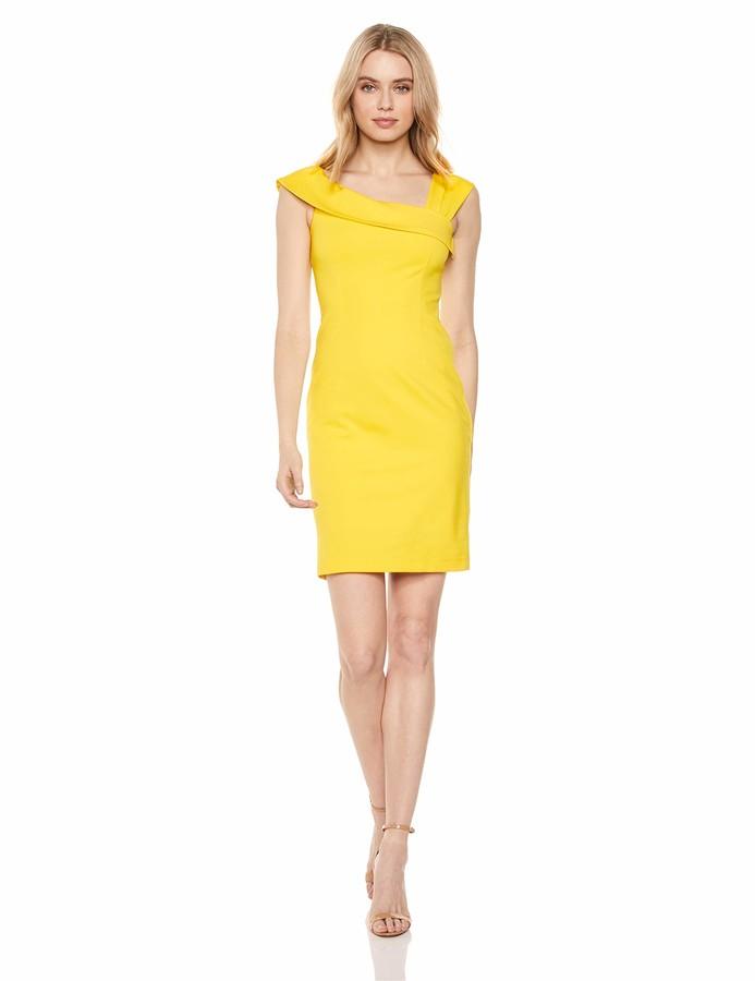 Lark & Ro Women's Asymmetrical Flounce Neckline Sheath Dress