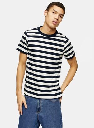Topman FARAH Ecru Belgrove Stripe Short Sleeve T-Shirt*