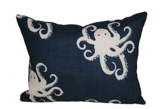 Rennie & Rose Design Group Octopoda Boudoir/Breakfast Lumbar Pillow & Rose Design Group Color: Blue