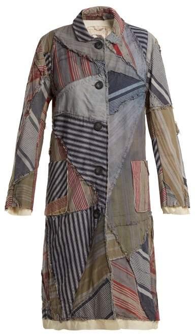 By Walid Lori 19th Century Print Linen Coat - Womens - Blue Multi