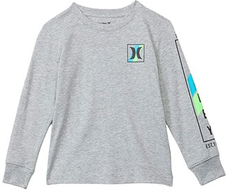 Hurley Long Sleeve Graphic T-Shirt (Little Kids) (Dark Grey Heather) Boy's Clothing