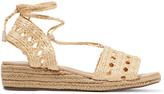 Schutz Genda leather-trimmed lace-up woven wedge sandals