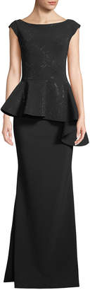 Chiara Boni Etheline Beaded Cap-Sleeve Asymmetric Peplum-Waist Trumpet Evening Gown