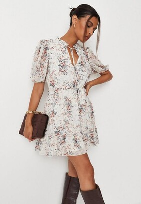 Missguided White Floral Print High Neck Keyhole Skater Dress