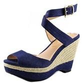 J. Renee Sarila Women W Open Toe Canvas Platform Sandal.