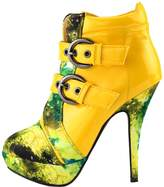Show Story Buckle Night Sky High Heel Stiletto Platform Ankle Boots,LF30301YL40,9US