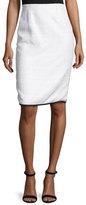 Oscar de la Renta Contrast-Trim Tweed Pencil Skirt, White/Black