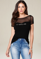 Bebe Logo Mesh Sweetheart Top