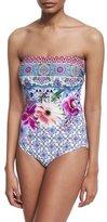 Gottex Le Jardin Floral-Print Bandeau One-Piece Swimsuit
