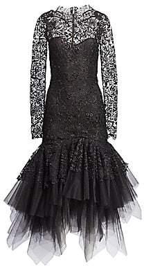 Oscar de la Renta Women's Lace& Tulle Drop Waist Dress