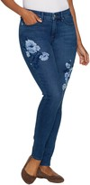 Martha Stewart Petite Floral Embroidered 5-Pocket Ankle Jeans
