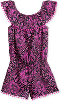 Epic Threads Bandana-Print Off-The-Shoulder Romper, Little Girls (4-6X), Created for Macy's