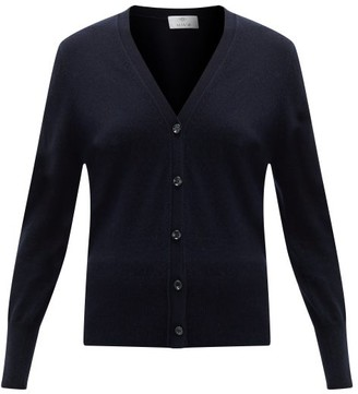 Allude V-neck Wool-blend Cardigan - Navy