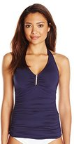 Calvin Klein Women's Bar Halter Tankini with Removable Soft Cups