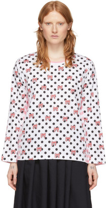 COMME DES GARÇONS GIRL Pink and White Disney Edition Stripe Polka Dot T-Shirt