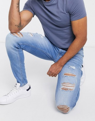 Jack and Jones Intelligence Liam skinny fit jeans with rips in light blue