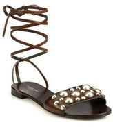 Michael Kors Mica Studded Leather Lace-Up Sandals