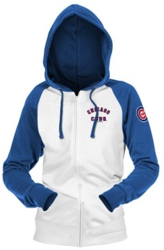 5th & Ocean Chicago Cubs Women's Zip-Up Contrast Hoodie