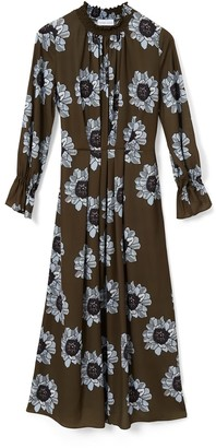 Phoebe Grace Felicity Midaxi Dress With Shirred High Neck Detail In Blue & Olive Poppy