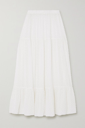 Eres Boutis Tiered Ruffled Fil Coupe Silk And Cotton-blend Midi Skirt - White