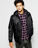 Quiksilver Jacket With Hood In Poly Twill - Black