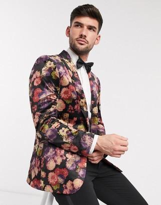 Harry Brown floral velvet party blazer