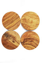 One Kings Lane S/4 Round Olive Wood Coasters, Natural