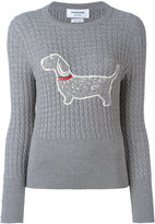 Thom Browne embroidered dog jumper - women - Wool - 40