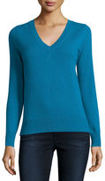 Neiman Marcus Long-Sleeve V-Neck Cashmere Top