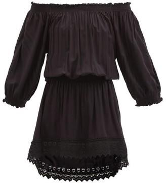 Melissa Odabash Ivy Off-shoulder Lace-trim Shirred-poplin Dress - Black