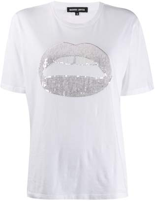 Markus Lupfer sequinned lip graphic T-shirt