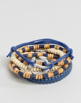 Asos Leather And Beaded Bracelet Pack In Blue