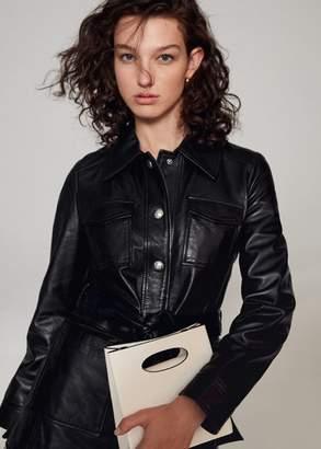 MANGO Leather bucket bag off white - One size - Women