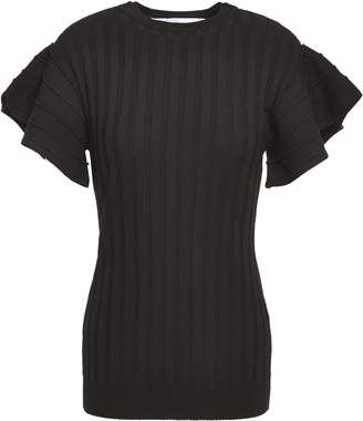 Victoria Victoria Beckham Victoria, Victoria Beckham Ruffle-trimmed Ribbed Wool Top