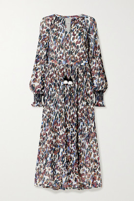 Derek Lam 10 Crosby Nemea Tasseled Floral-print Plisse-georgette Midi Dress - Ecru