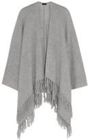 Joseph Oversized Fringed Cashmere Wrap - Light gray