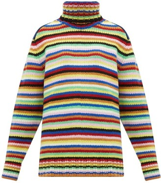 JoosTricot Striped Roll-neck Wool-blend Sweater - Multi