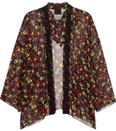 Anna Sui Floral-print Silk-crepon And Crocheted Lace Kimono - Black