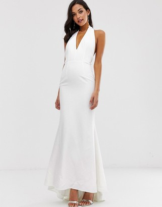 Jarlo extreme plunge front maxi dress with drop back in white