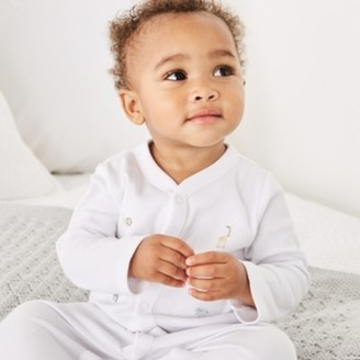 The White Company Safari Embroidered Sleepsuit, White, 18-24mths