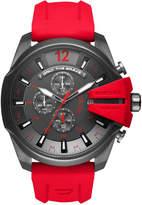 Diesel Men's Chronograph Mega Chief Red Silicone Strap Watch 51mm DZ4427