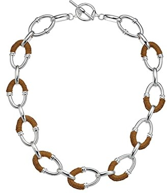Lauren Ralph Lauren 17 Raffia Link Necklace (Brown) Necklace