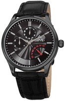 August Steiner Men&s Quartz Multi-Function Croc-Embossed Leather Strap Watch