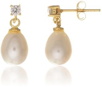 Auree Jewellery Drayton White Pearl & Cubic Zirconia Yellow Gold Vermeil Oval Drop Earrings