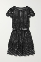 MICHAEL Michael Kors Belted Crystal-embellished Metallic Lace Mini Dress