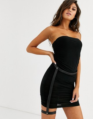 Lemon Lunar sheer mini ruched dress with body underlay in black