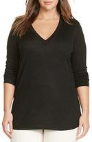 Lauren Ralph Lauren Plus Silk-Blend V-Neck Sweater