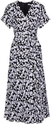 Derek Lam 10 Crosby Floral-print Silk-blend Midi Wrap Dress