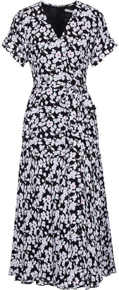 Derek Lam 10 Crosby Wrap-effect Floral-print Silk-blend Crepe Midi Dress