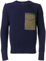 Moncler cargo pocket ribbed jumper - men - Cotton/Polyester/Wool - S